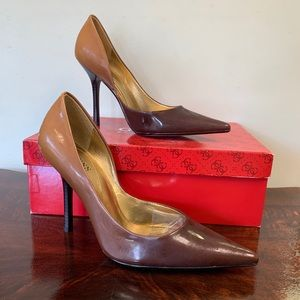 Guess by Marciano Brown Carries Pointed Toe Heels